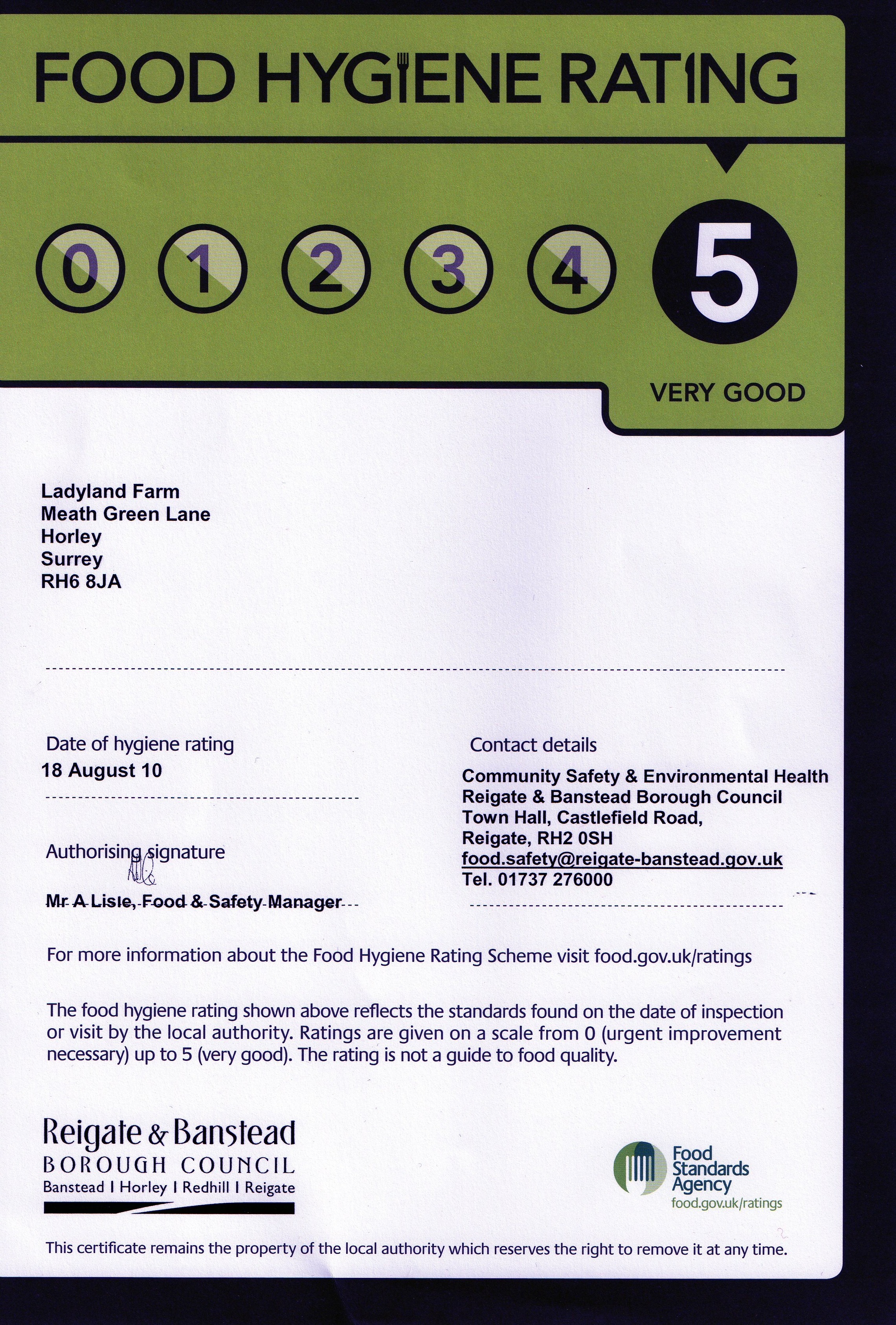 Health And Safety Certification And Ratings For Ladyland Farm
